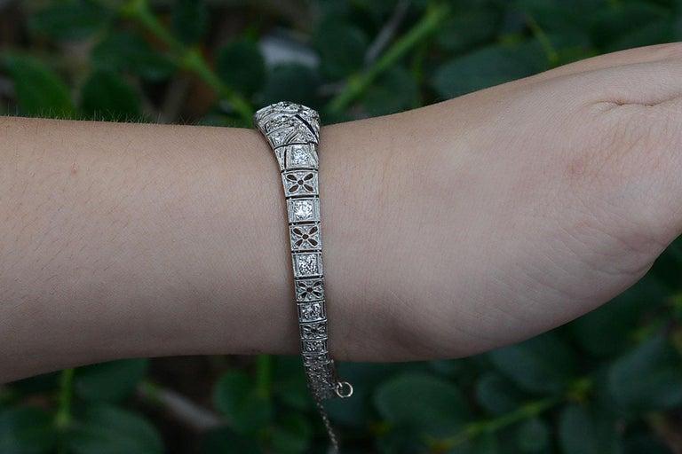 Old European Cut Antique Filigree 3 Carat Diamond Sapphire Link Bracelet Art Deco Platinum For Sale