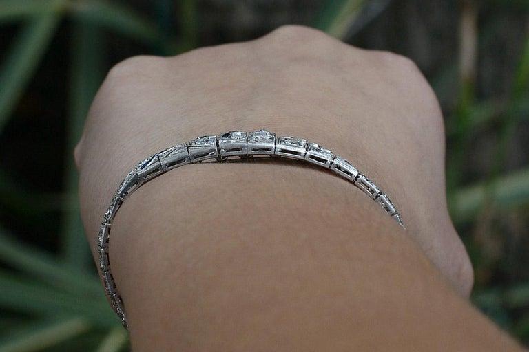 Antique Filigree 3 Carat Diamond Sapphire Link Bracelet Art Deco Platinum In Good Condition For Sale In Santa Barbara, CA