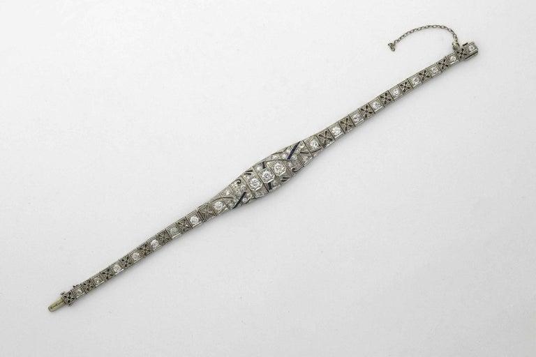 Women's Antique Filigree 3 Carat Diamond Sapphire Link Bracelet Art Deco Platinum For Sale