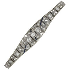 Antique Filigree 3 Carat Diamond Sapphire Link Bracelet Art Deco Platinum