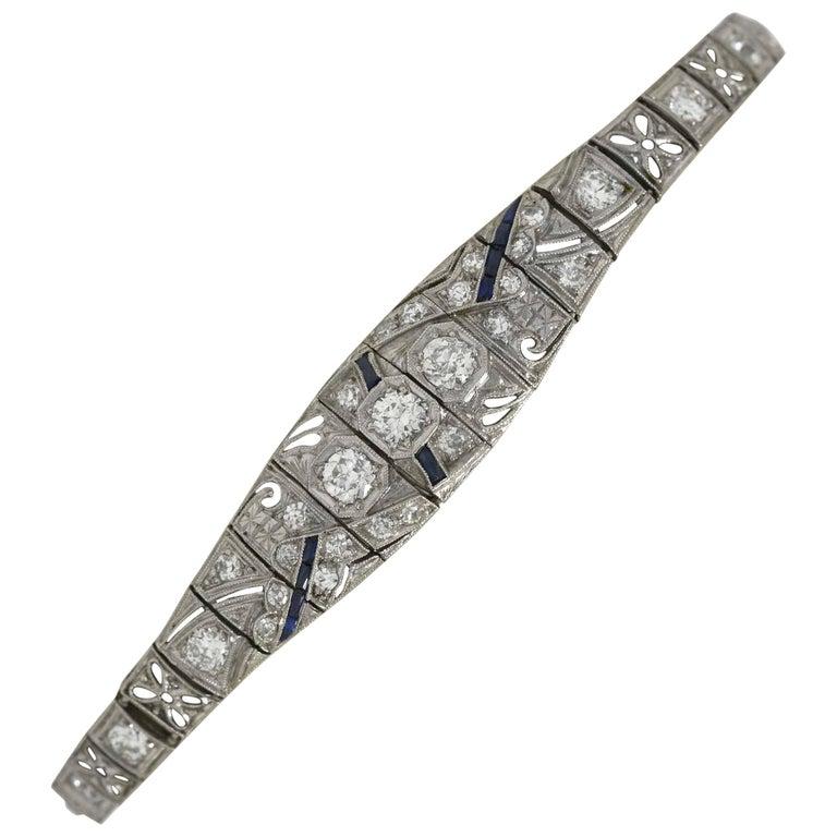 Antique Filigree 3 Carat Diamond Sapphire Link Bracelet Art Deco Platinum For Sale