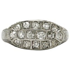 Antique Filigree Diamond Engagement Ring Art Deco Vintage Oval Cluster Band Lacy