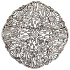 Antique Filigree Platinum Round Old Mine and Rose Cut Diamond Brooch