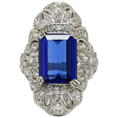Antique Filigree Tanzanite Cocktail Ring Long Emerald Cut Edwardian Platinum