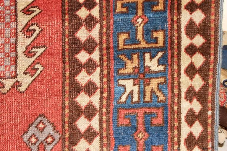 Wool Antique, Fine, Caucasian Carpet, Rug, Kazak, Hand Knotted For Sale