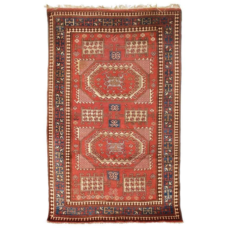 Antique, Fine, Caucasian Carpet, Rug, Kazak, Hand Knotted For Sale