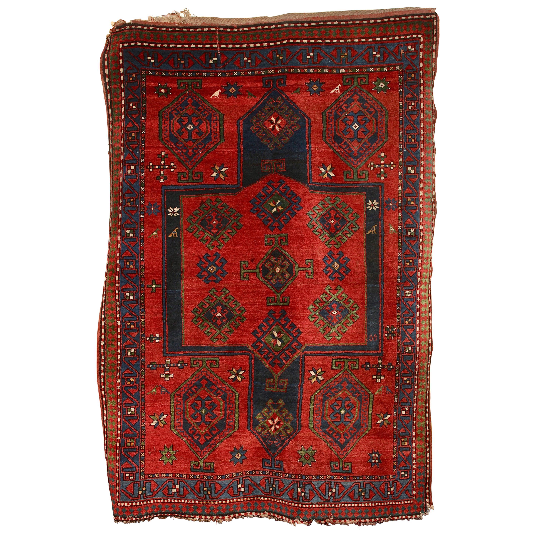 Antique, Fine, Caucasian Carpet, Rug, Kazak, Hand Knotted