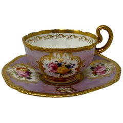 Antique Fine English China Tea and Coffee Cups and Saucers, circa 1860-1880