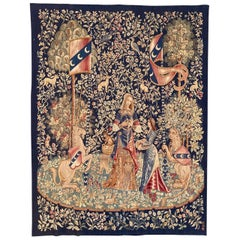 "Antique Fine French Aubusson Tapestry Lady with Unicorn ""dame à la licorne"""