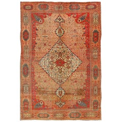 Antique Fine Persian Ferahan Sarouk Rug in Mocha Pink, Salmon, Red and Teal Blue