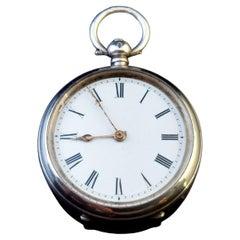 Antique Fine Silver Pocket Watch, Fob Watch