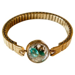 Antique Fine Watch Talisman Bracelet Filled with Vintage Emeralds and Opals