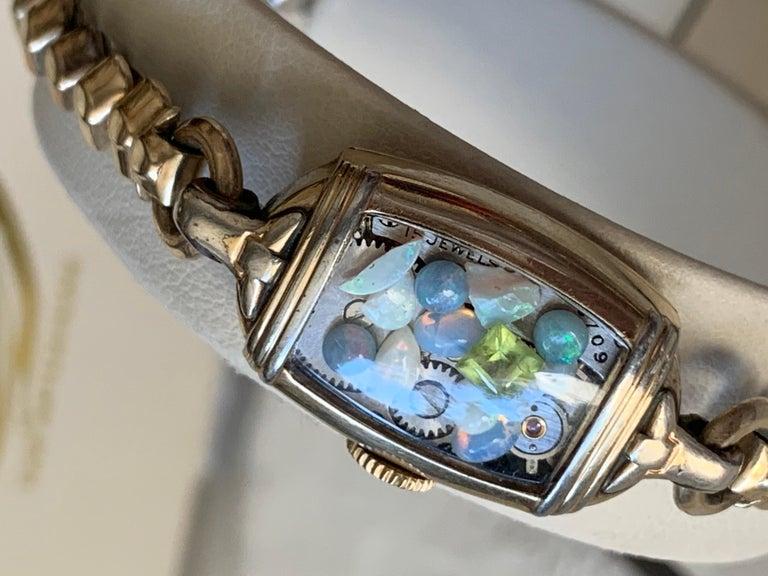 Art Deco Antique Fine Watch Talisman Bracelet Filled with Vintage Opals For Sale