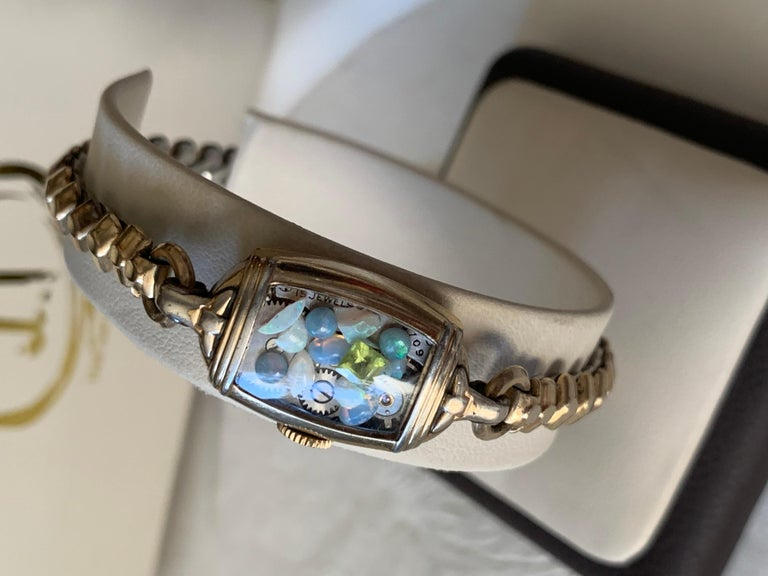 Antique Fine Watch Talisman Bracelet Filled with Vintage Opals In Excellent Condition For Sale In Marlton, NJ