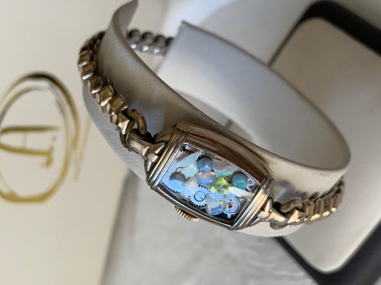 Women's Antique Fine Watch Talisman Bracelet Filled with Vintage Opals For Sale
