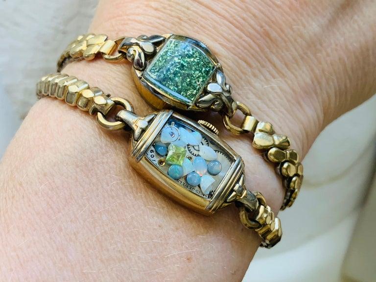 Antique Fine Watch Talisman Bracelet Filled with Vintage Opals For Sale 1