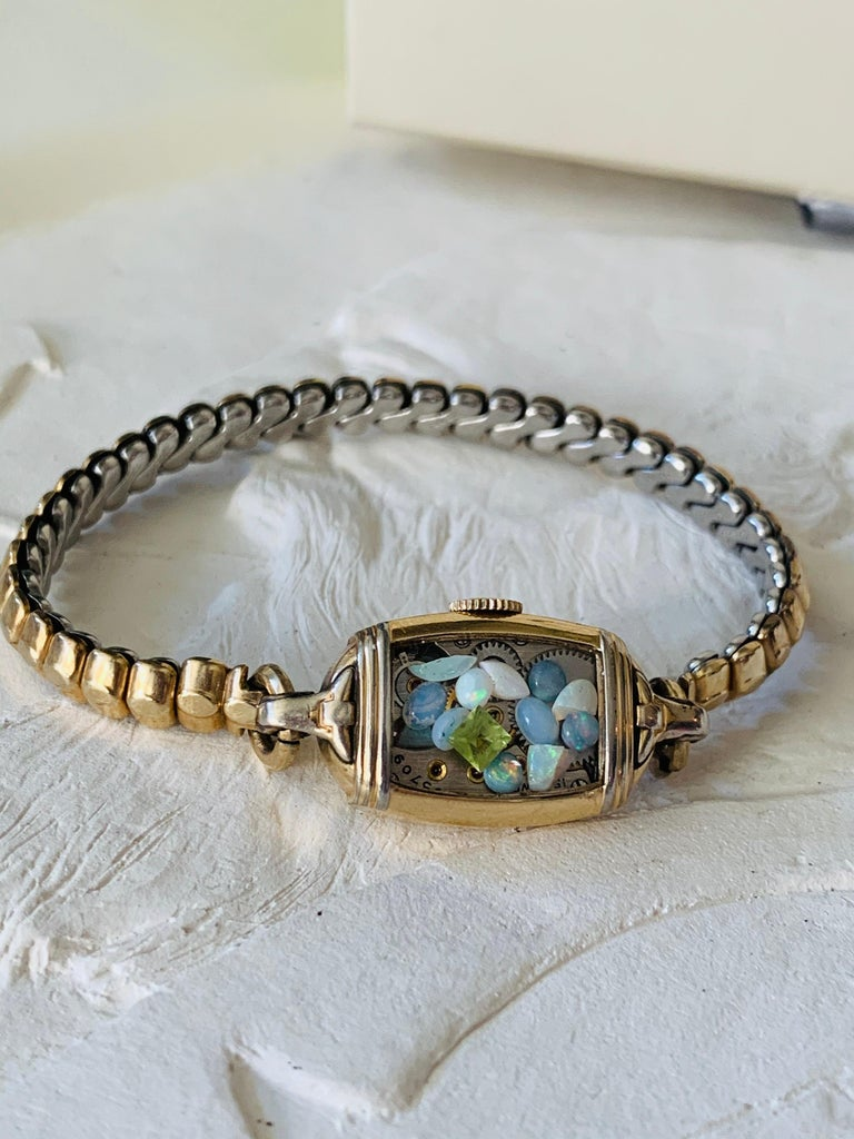 Antique Fine Watch Talisman Bracelet Filled with Vintage Opals For Sale 3