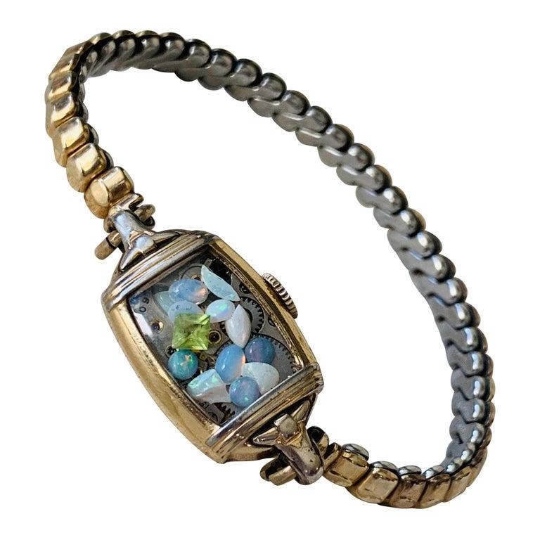 Antique Fine Watch Talisman Bracelet Filled with Vintage Opals For Sale