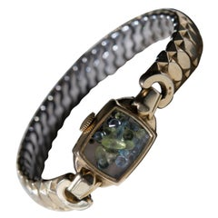 Antique Fine Watch Talisman Bracelet Filled with Vintage Topaz and Peridot