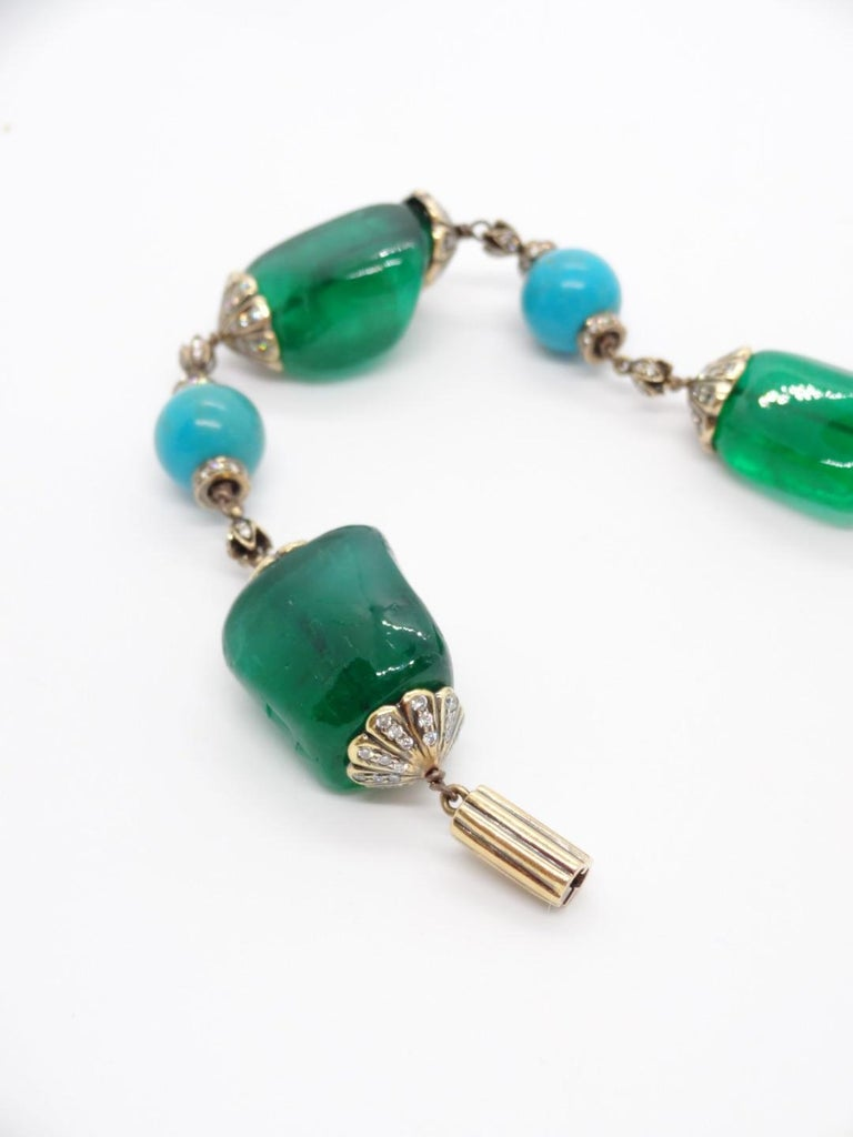 Contemporary Antique Finish Silver Gold Emerald Link Bracelet with Turquoise and Diamonds For Sale