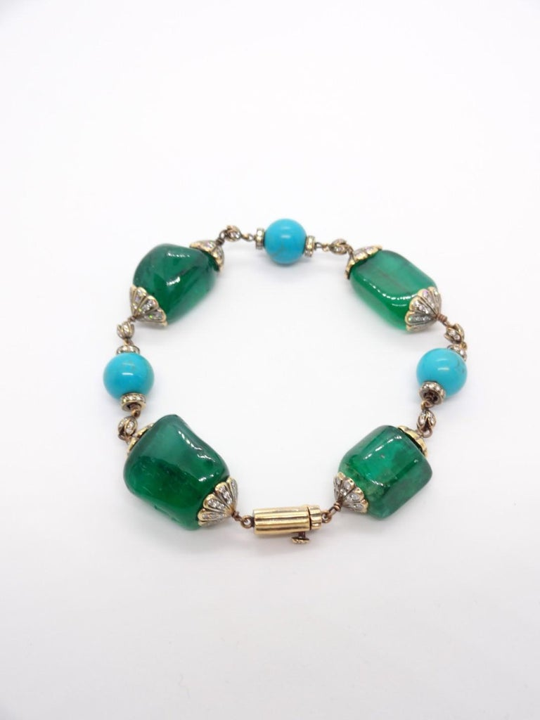 Antique Finish Silver Gold Emerald Link Bracelet with Turquoise and Diamonds In Good Condition For Sale In New York, NY