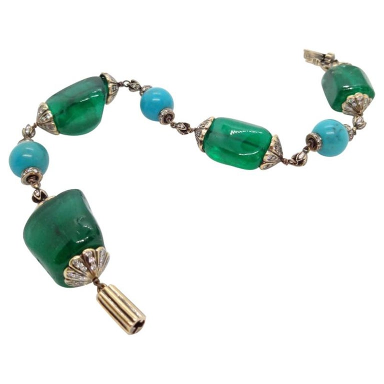 Antique Finish Silver Gold Emerald Link Bracelet with Turquoise and Diamonds For Sale