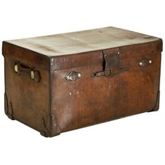 Antique Finnigans Leather Trunk, Coffee Table