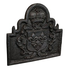 Antique Fire Back, English, Cast Iron, Fireplace, Reflector, Victorian, 1880