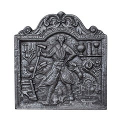 Antique Fire Back, English, Victorian, Cast Iron, Plate, 19th Century