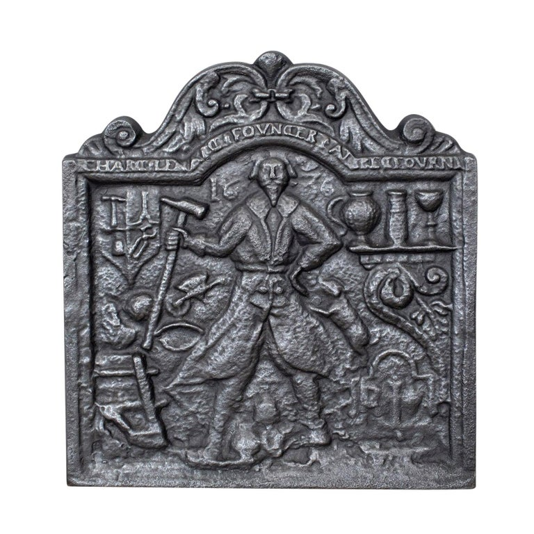 Antique Fire Back, English, Victorian, Cast Iron, Plate, 19th Century For Sale