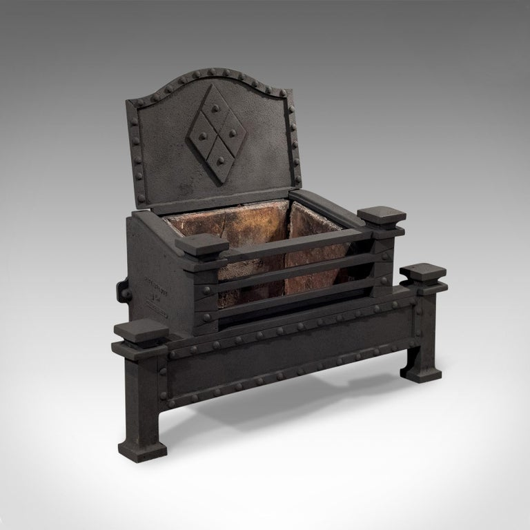 Arts and Crafts Antique Fire Basket, English, Victorian, Free Standing, Cast Iron Grate