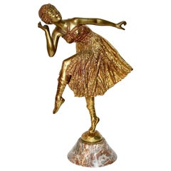 "Antique Fire-Gilded Bronze Sculpture, Art Deco, Nouveau Dancing Lady ""Bousquet"""