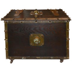 Antique Fire or Coal Box with Medieval Jesting Friar Head Bronze Handles