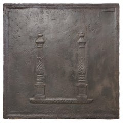 Antique Fireback / Backsplash, Profiled Pillars