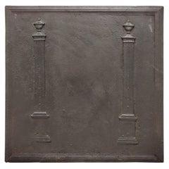 Antique Fireback / Backsplash, Two Pillars
