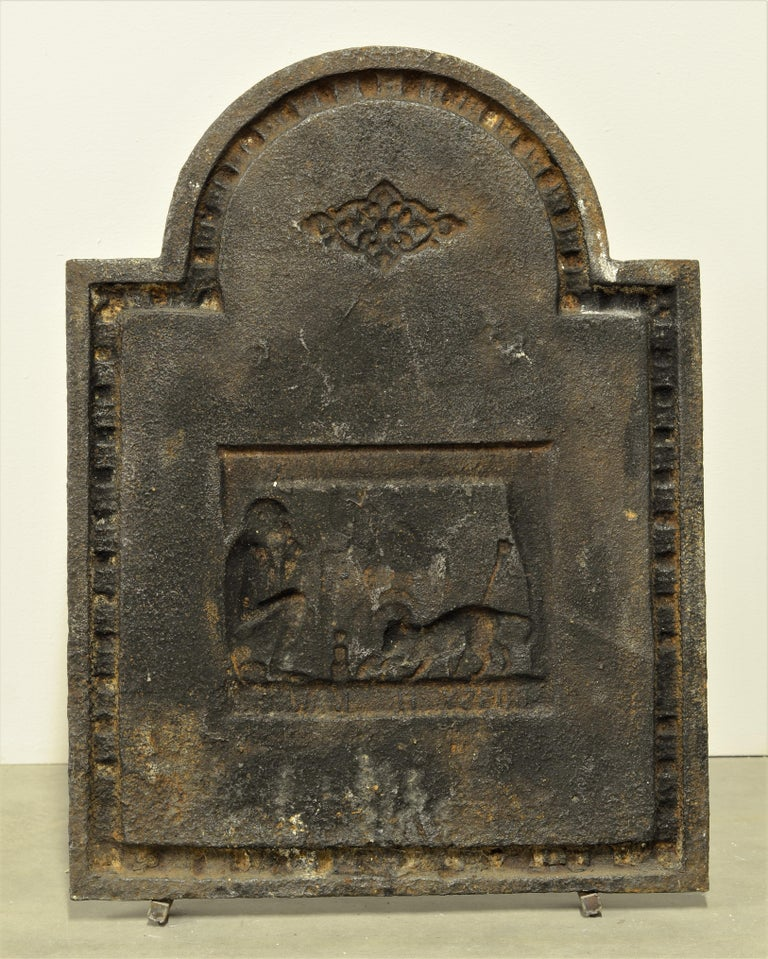 Cast Antique Fireback, Small and Decorative For Sale