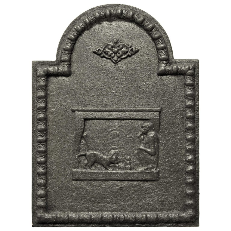 Antique Fireback, Small and Decorative For Sale