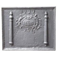 Antique Fireback with Medieval IHS Monogram, Dated 1737
