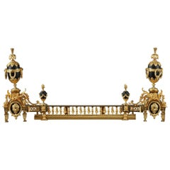 Antique Fireplace Andirons and Fender in Louis XVI Style