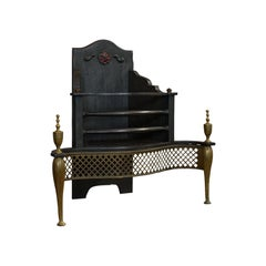 Antique Fireplace, English, Cast Iron, Fire Basket, Regency Revival, Victorian