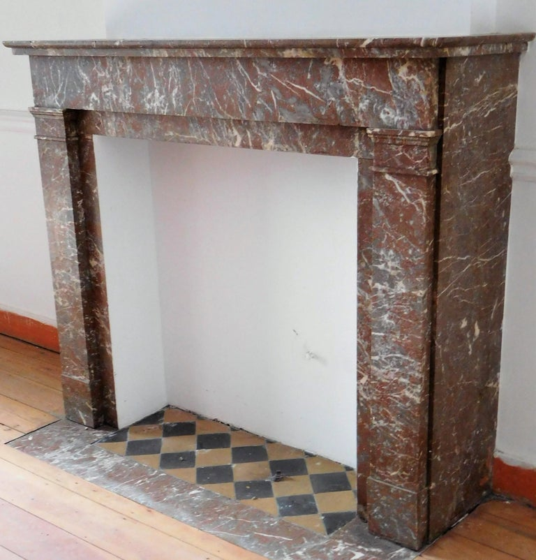 Art Deco ART DECO Fireplace in Sprightly Red Marble For Sale