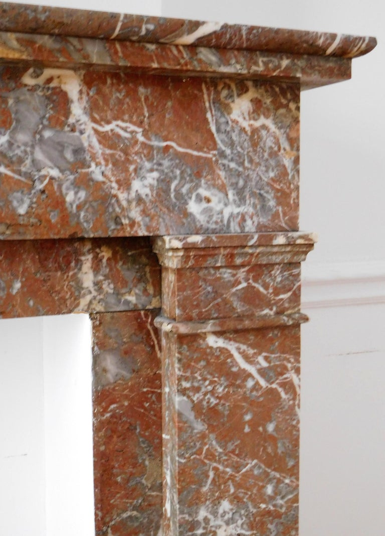 Belgian ART DECO Fireplace in Sprightly Red Marble For Sale