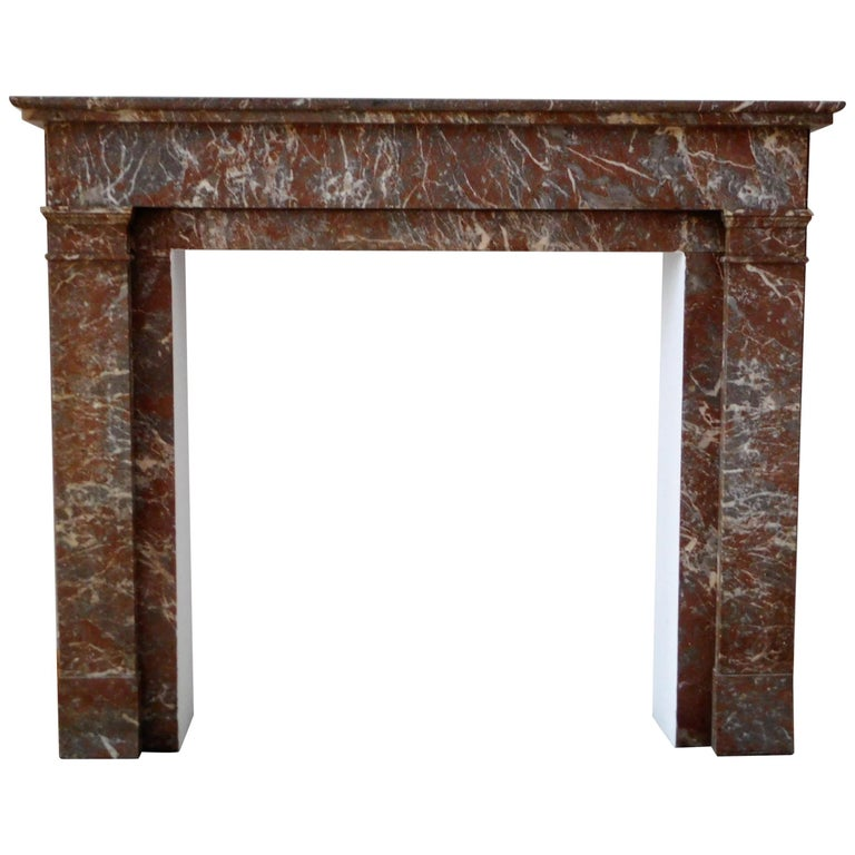 ART DECO Fireplace in Sprightly Red Marble For Sale