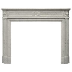 Antique Fireplace in Carrara Marble, Louis XVI Style, 19th Century Paris, France