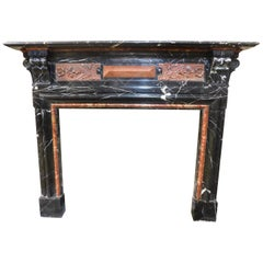 Antique Fireplace in Inlaid Red Black Marble, Large and Precious, Italy, '800