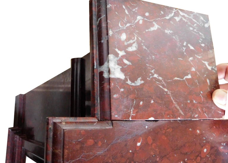Napoleon III Antique Fireplace in Rare Red Griotte Marble For Sale