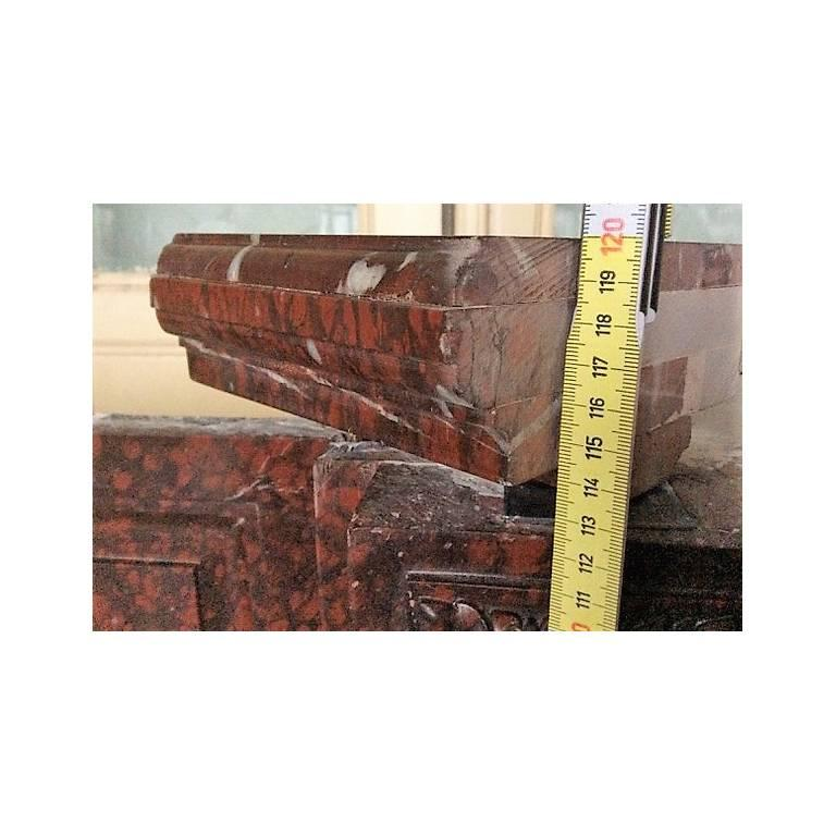 Mid-19th Century Antique Fireplace in Rare Red Griotte Marble For Sale