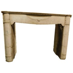 Antique fireplace in travertine stone, neoclassical, '800 Italy