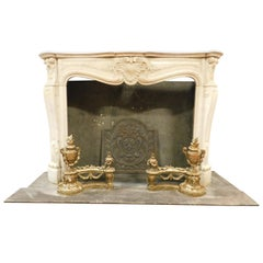 Antique Fireplace in White Carrara Marble, Carved Shells, 1700, France