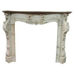 Antique Fireplace in White Carrara Marble, Richly Carved with Masks, '700, Italy